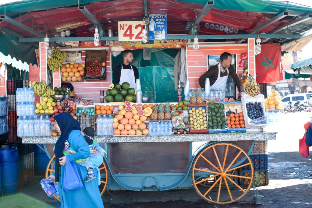 fruit stand in Marrakesh