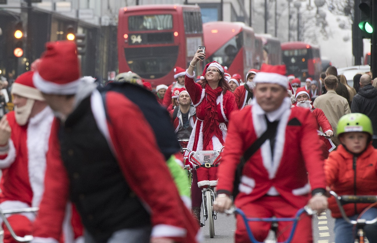 Santa Christmas in the UK bike riding